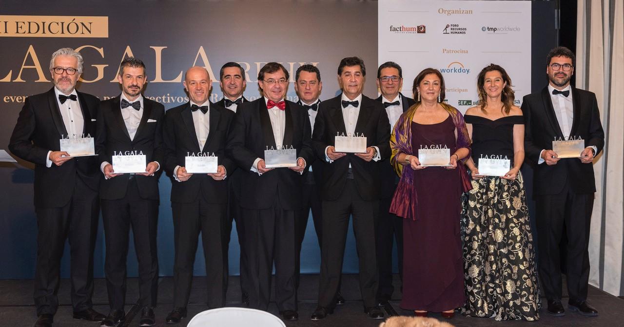 """Los RRHH de Banco Sabadell, Inditex, Mediaset, Atresmedia, Movistar+, Repsol, Telefónica, ElPozo premiados ante 170 directivos de empresas destacadas en """"La Gala de RRHH 2018"""""""